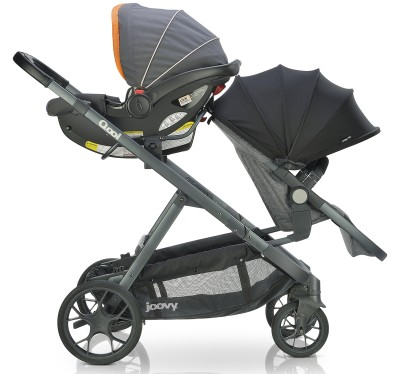 Joovy Qool with one infant car seat and one toddler seat
